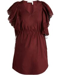 See By Chloé - Embroidered Sleeve Poplin Day Dress - Lyst