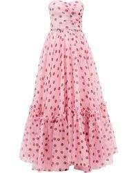 Dolce & Gabbana Robe de soirée en organza de soie à corset et pois - Rose