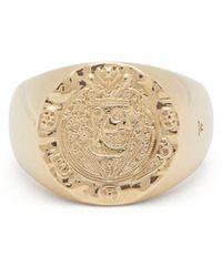 Tom Wood Silk Coin Gold Signet Ring - Metallic