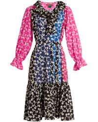 Duro Olowu Nina Contrast Panel Ruffled Neck Crepe Dress - Multicolour