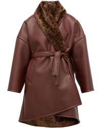 Balenciaga Oversized Faux-fur And Faux-leather Wrap Coat - Brown