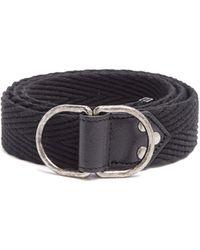 Saint Laurent - Leather-trimmed Canvas Belt - Lyst