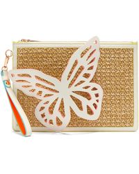 Sophia Webster Flossy Butterfly Leather And Raffia Pouch - Multicolor