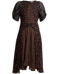 MASSCOB - Balloon Sleeve Floral-print Silk Dress - Lyst