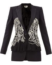 Alexander McQueen クリスタル ウールブレンドツイル ペプラムジャケット - ブラック