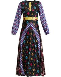 Duro Olowu | Contrast-panel Floral And Check-print Satin Dress | Lyst