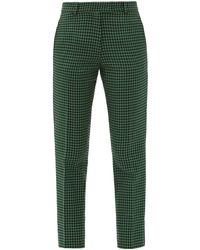 Racil Aries Cropped Houndstooth-check Tweed Trousers - Green