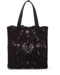 Dolce & Gabbana セイクリッドハート コルドネットレース トートバッグ - ブラック
