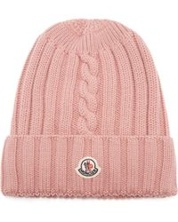 Moncler Ribbed Knit Wool Beanie Hat - Multicolour