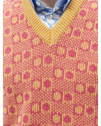 Marni V-neck Geometric-jacquard Wool Sleeveless Jumper - Red