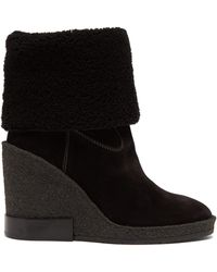 Tod's - Shearling Lined Suede Wedge Boots - Lyst