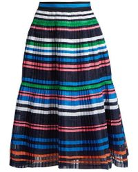 MUVEIL - - Ribbon Striped Pleated Organza Skirt - Womens - Navy Multi - Lyst