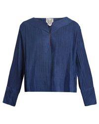Thierry Colson - Jours De Venise Pleated Cotton-blend Top - Lyst