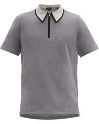 Dunhill ファスナーカラー コットンポロシャツ - グレー