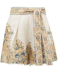Zimmermann Freja Paisley-print Scalloped-hem Linen Shorts - White