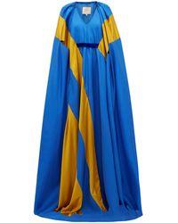 ROKSANDA Marva サテンストライプ シルクツイル ドレス - ブルー