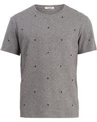 Valentino - Eyelet Embellished Cotton Blend T Shirt - Lyst