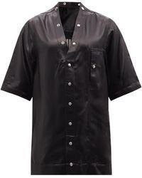 Rick Owens フォン スナップボタン サテンシャツ - ブラック
