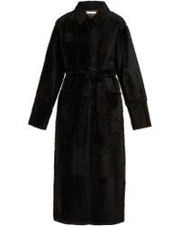 Inès & Maréchal Equilibre Notchel Lapel Shearling Coat - Black