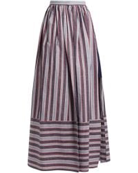 Palmer//Harding | Double-layer Striped Cotton-poplin Skirt | Lyst