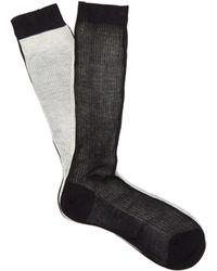 Raey Frankenstein Two-tone Silk Socks - Black