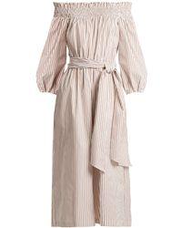 Caroline Constas   Lou Off-the-shoulder Striped Cotton Jumpsuit   Lyst