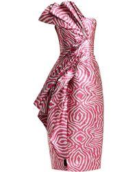 Halpern - Zebra Lamé Strapless Midi Dress - Lyst