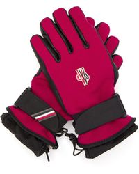 3 MONCLER GRENOBLE Logo Patch Twill And Leather Technical Ski Gloves - Red