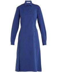 Tomas Maier - Cotton-poplin Asymmetric-button Dress - Lyst