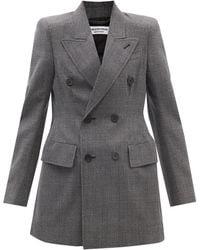 Balenciaga アワーグラスウエスト チェック ウールツイルジャケット - マルチカラー