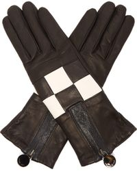 Agnelle - Argi Leather Checkerboard Gloves - Lyst