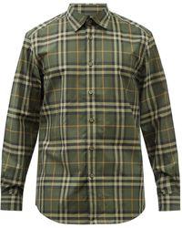 Burberry カクストン チェック コットンシャツ - グリーン