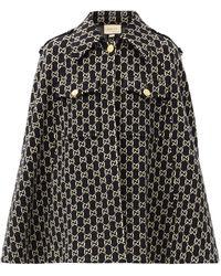 Gucci GG-jacquard Wool Cape - Black