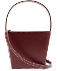 STAUD Edie Leather Bucket Bag - Purple