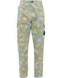 Stone Island Camouflage-print Tela Placcata Cotton Pants - Gray
