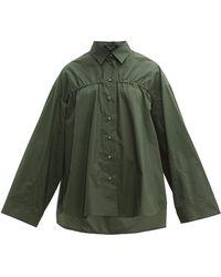 White Story Adam Elasticated Cotton-poplin Shirt - Green