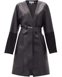 Loewe Suede-panelled Leather Wrap Coat - Black