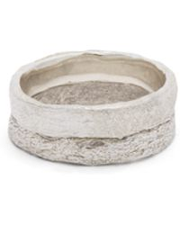 Pearls Before Swine - Double Band Oxidised Sterling Silver Ring - Lyst