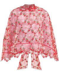 Simone Rocha Floral Embroidered Tulle Cape