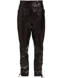 Isabel Marant Cadix Lace-up Leather Pants - Black
