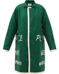 Bode Garfield Text-appliqué Merino-wool Coat - Green