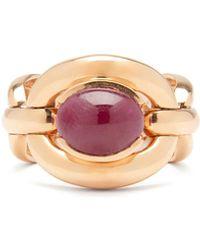 Nadine Aysoy Catena Ruby & 18kt Rose-gold Ring - Metallic