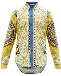 Versace Baroque-print Cotton-poplin Shirt - Blue