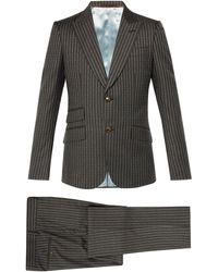 Gucci ヘリテージ ロゴストライプ ウールスーツ - グレー