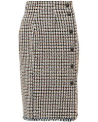 Rebecca Taylor Houndstooth Tweed Cotton Blend Skirt - Multicolor