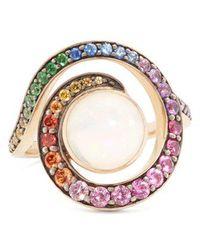 Noor Fares - Spiral Grey-gold Ring - Lyst