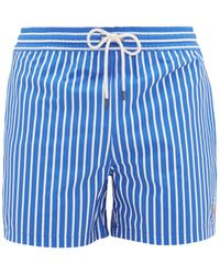 Polo Ralph Lauren Logo-embroidered Striped Swim Shorts - Blue