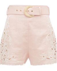 Zimmermann Freja High-rise Embroidered Linen Shorts - Pink