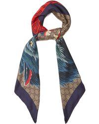 Gucci - Wolf-print Gg Supreme Silk-twill Scarf - Lyst