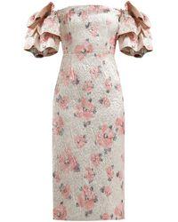 ALEXACHUNG Tiered-sleeve Floral-cloqué Dress - Pink